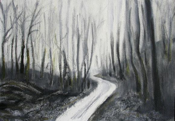 2006  Waldweg mit kahlen Bäumen 30x40 Öl