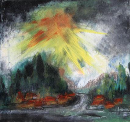 2009  Feuerhimmel 30x30 Öl
