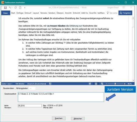 Erweiterte Dateneingabe für Textbausteine
