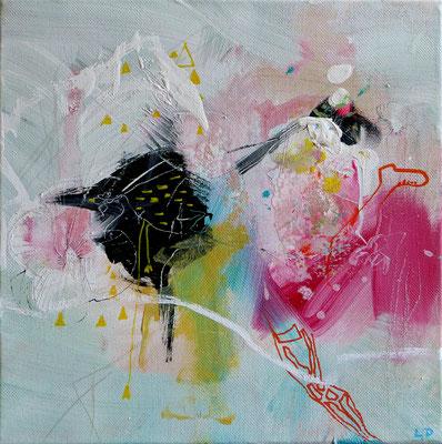 """""""Le poulet et la chinoise"""" au Far West Acrylique sur toile Dim 20cmx20cm"""