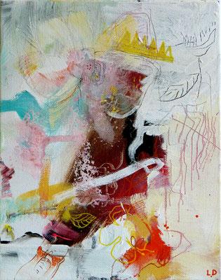 """""""Le roi nain"""" Acrylique sur toile dim 24cmx19cm"""