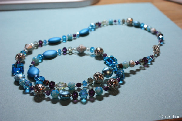 """Blue/violet mix"" beaded necklace"