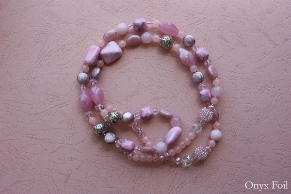 """Tender pink mix"" beaded necklace"