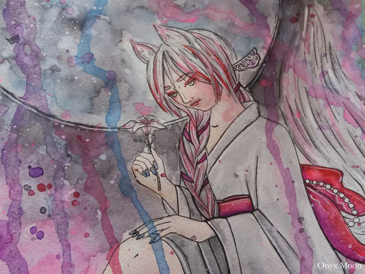 Moon Fox Priestess, 30*40 cm, paper