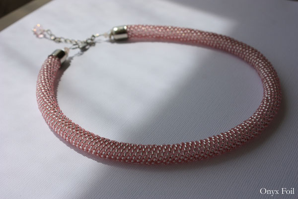 """Pink mousse"" beaded necklace"