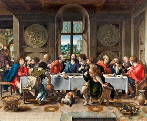 La Cène, Metropolitan Museum of Art / Huile sur bois (65 x 80 cm). - Le personnage attablé à l'extrême gauche serait identifié à Luther