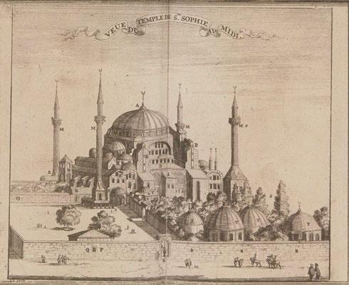 Constantinople, Basilique Sainte-Sophie in  La galerie agréable du monde, édité en 1729 par Van Der Aa. / BNF/ Gallica