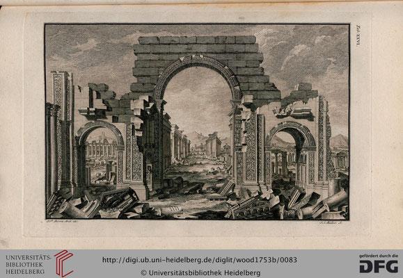 Palmire, Ruines du Grand Temple du coté de l'orient, gravure / Bibliothèque universitaire d'Heidelberg