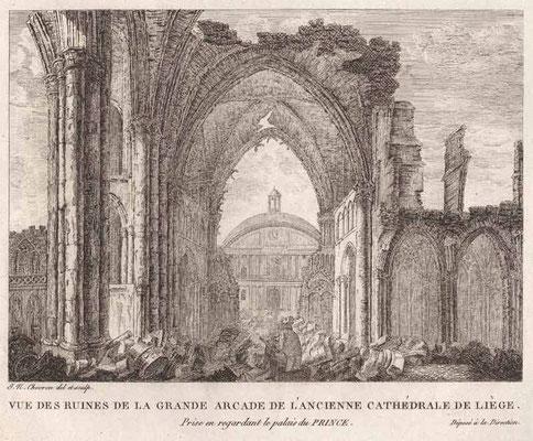 Liège, ruines de la grande arcade de l'ancienne cathédrale / Abbeville, Musée Boucher-de-Perthes
