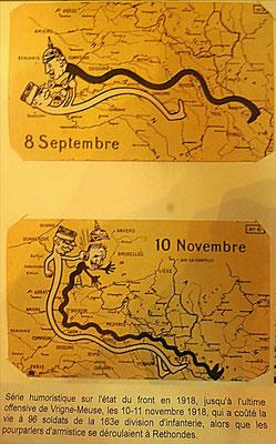 Les avancées et reculs du front en 1918 sont symbolisés par l'empoignade entre Joffre et le Kaiser