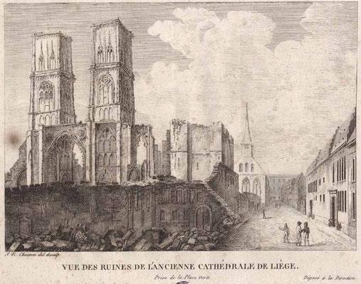 Liège, ruines de l'ancienne cathédrale / Abbeville, Musée Boucher-de-Perthes