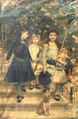 Jules Aviat, Départ pour la chasse, 1886, Ce tableau représente trois des cinq enfants du peintre, Marguerite Denise et Pierre sur les escaliers de leur propriété de Sceaux /  Ville de Périgueux