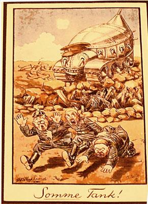 Evocation de la bataille de la Somme, on voit les maîtres de la Prusse fuir les tanks anglais