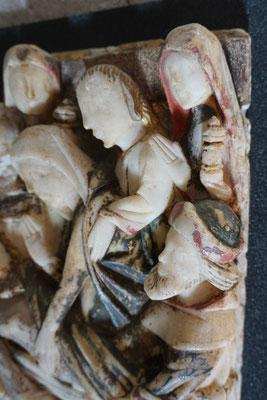 Mise au tombeau, détail de la polychromie