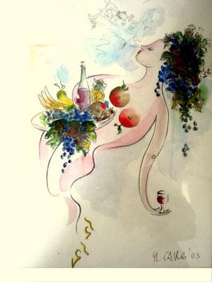 Der Wein und die Tafel ( Original zur Weinetikette, Jurypreis ) 32 x42 inkl. Rh. 1550.- Euro   Aquarell