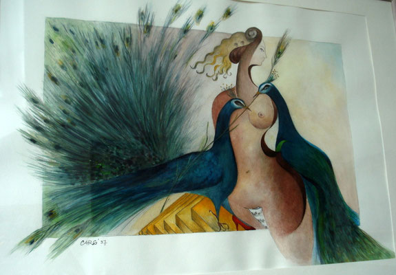 Die Kunst der Verführung      65 x 90 cm.  inkl. Rahmen    2450.- Euro.-     Aquarell