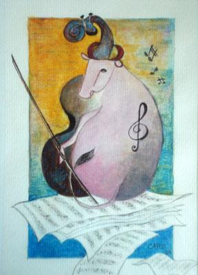 Die musikalische Kuh           25 x 33 cm.   inkl. Rahmen      650.- Euro       Aquarell