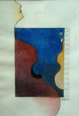 Silhouette             34 x41 cm.  inkl. Rahmen       980.- Euro                Aquarell
