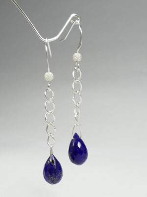 Boucles d'oreilles terminée avec lapis lazuli d'Afghanistan