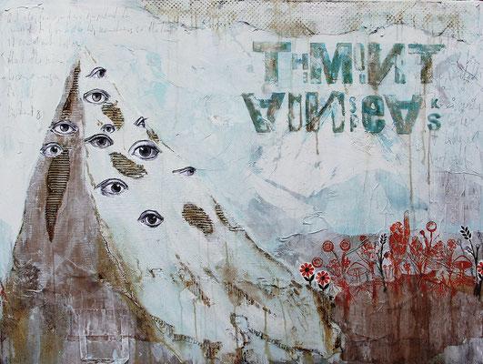 """""""The Mountain speaks"""", 125 x 95 cm aud Leinwand"""