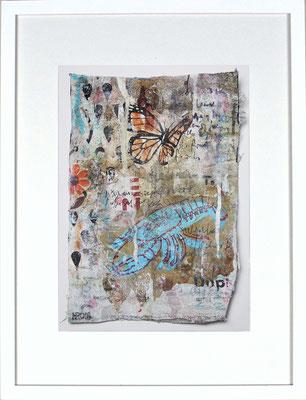 """""""Hummer, blau"""", ca. 19 x 27 cm auf Leinwand"""