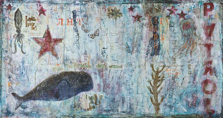 """""""When the Pottfisch comes around"""", 180 x 95 cm auf Leinwand"""