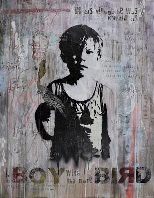 """""""The boy with the rare bird"""", 95 x 125 cm auf Leinwand"""
