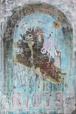 """""""There might be riots, somewhere else"""", 90 x 135 cm auf Leinwand"""