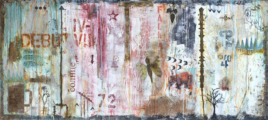 """Quartale"", 200 x 90 cm auf Leinwand"