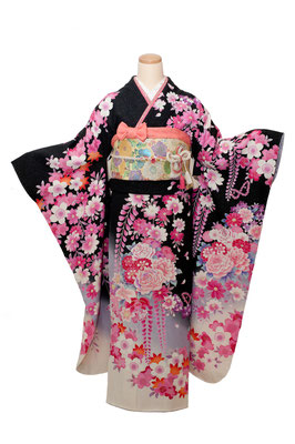 黒地に鮮やかなピンクと白の花 フルセット18万