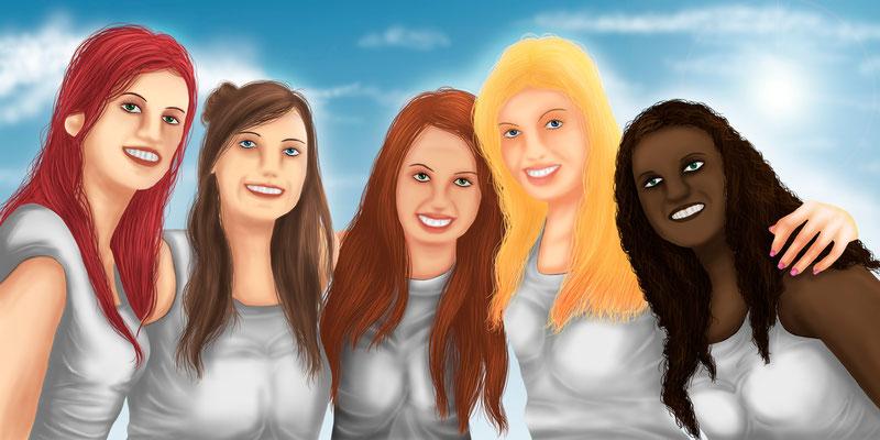 Zarina, Jessica, Anabélle, Freya und Saphira