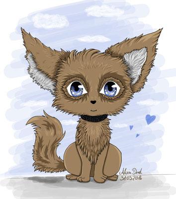 Wölfchen Chibi für eine liebe Person gemalt.