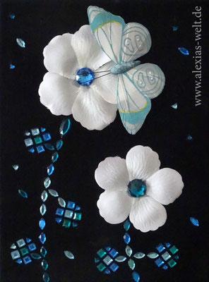 Diamantblumen, 18x24 cm Leinwand, Steine, Schmetterling, Blütenblätter