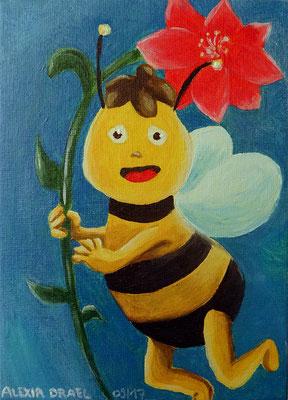 Biene Willi, Malkarton 13x18 cm, Acryl