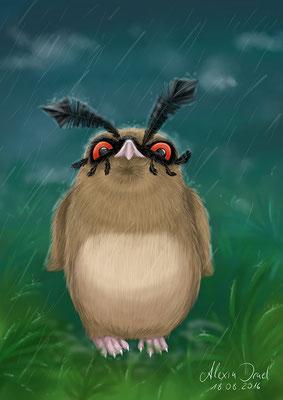 Hoothoot im Regen