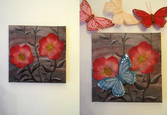 Schmetterlingsblumen, 20x20 cm Leinwand, Acryl, Schmetterling und Blütenblätter (verschenkt)