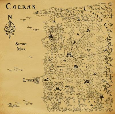 Weltkarte Caeran aus »Lupus et Lupa«