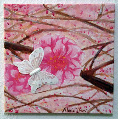 Kirschblüten, 30x30 cm Leinwand, Acryl, Schmetterling