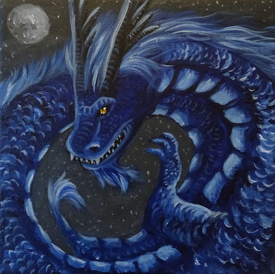 Blauer Drache, 25x25 cm Leinwand, Acryl (verschenkt)