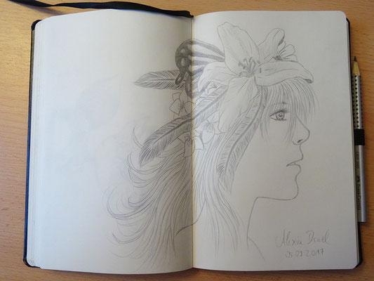 Skizzenbuch: 47. Skizze Mädchen mit Haarschmuck