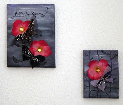 Butterfly Dreams, 18x24 cm & 13x18 cm Leinwand, Acryl, Tusche, Schmetterling und Blütenblätter