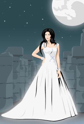 Mondgöttin Luna exkl. mit Hintergrund