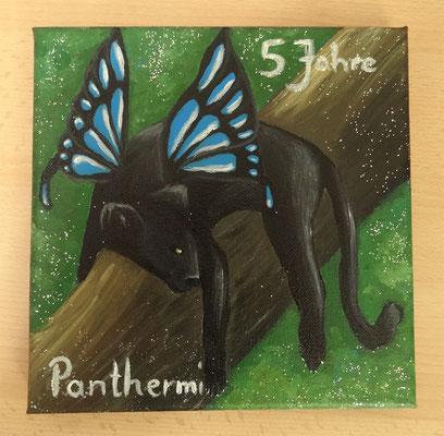 Auftragsarbeit: Panthermi, Leinwand 25x25 cm Acrylfarben (verkauft)