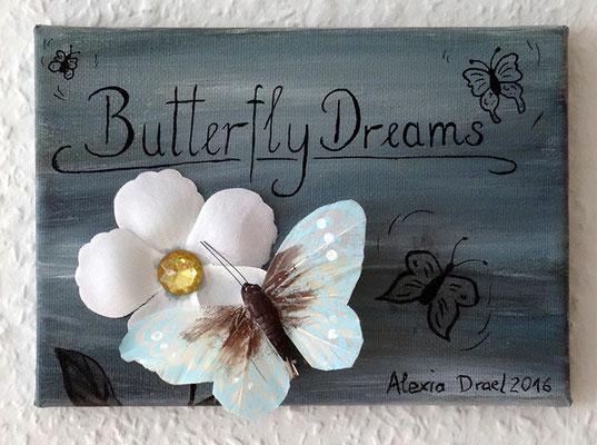 Butterfly Dreams, 13x18 cm Leinwand, Acryl, Tusche, Schmetterling und Blütenblätter (verschenkt)