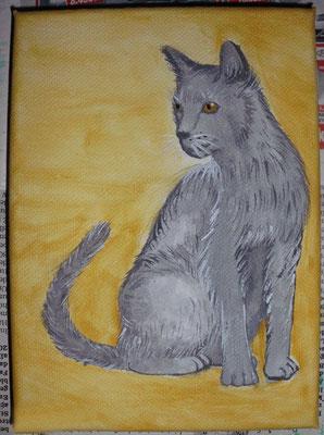 Katze, 13 x 18 cm Leinwand, 06.12.2014 (verschenkt)