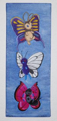 Schmetterlinge, 20x50 cm Leinwand, Acryl (verschenkt)
