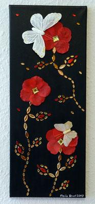 Diamantblumen, 20x50 cm Leinwand, Acryl, Steine, Schmetterlinge, Blütenblätter