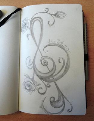 Skizzenbuch: 48. Skizze Notenschlüssel