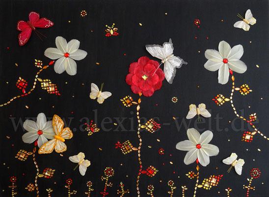 Diamantblumen, 80x60 cm Leinwand, Acryl, Steine, Schmetterlinge, Federn, Blütenblätter