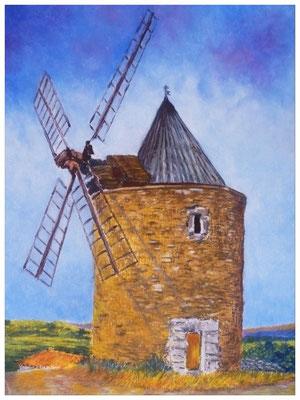 Le vieux moulin - PASTEL A L'HUILE